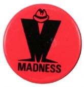Madness - 'M Logo Pink' Button Badge